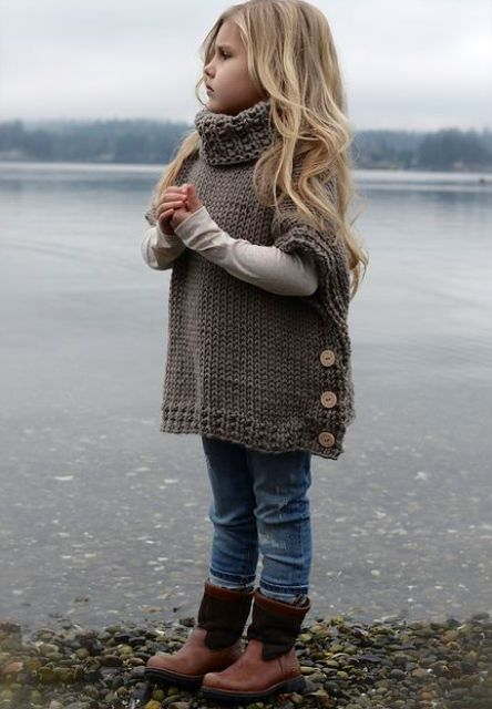 jeans, a knit tunic, brown boots
