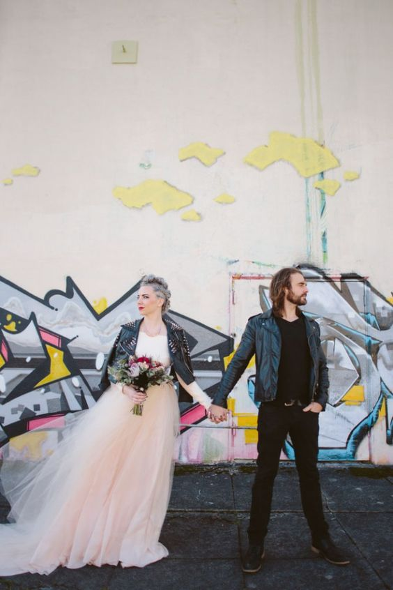 bridal separate with a tulle skirt and a spiked leather jacket