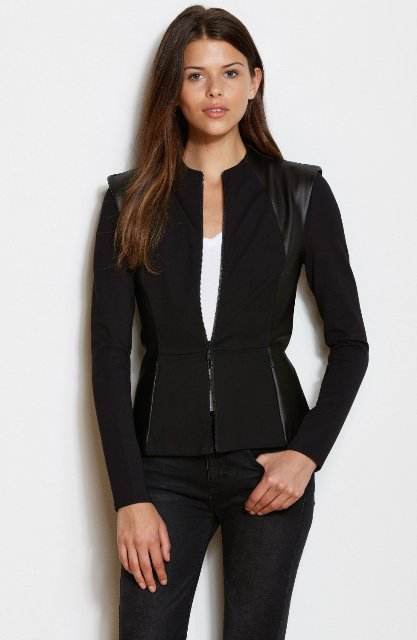Black jacket with leather decor, white shirt and skinny trousers