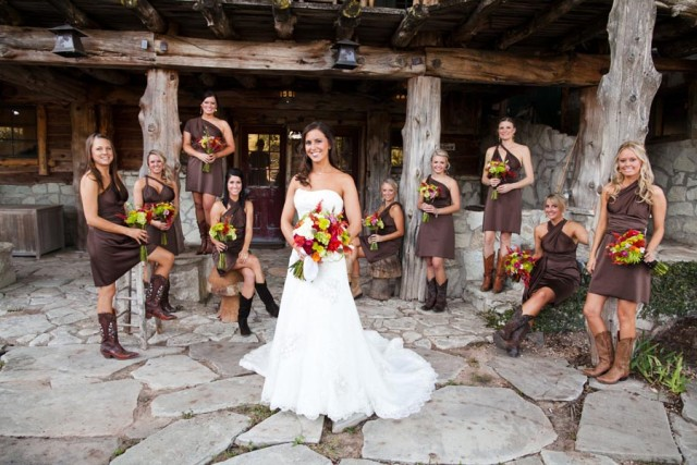 Dresses with cowboy boots for country theme weddings