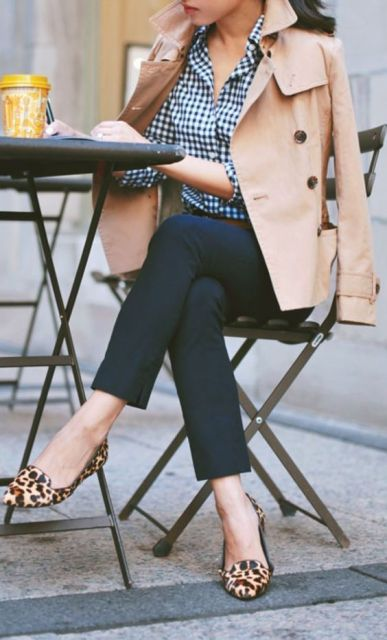 With plaid shirt, leopard flats and neutral jacket