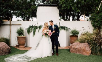 This wedding is inspired by tropics and boho chic, it