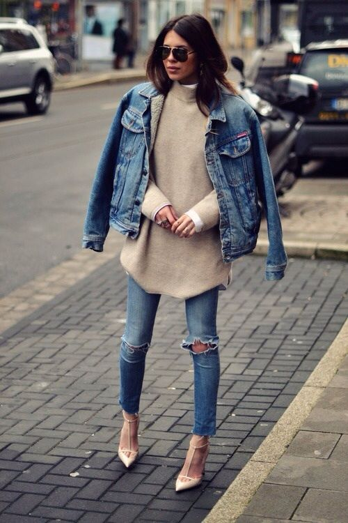 double denim look with an oversized nude sweater