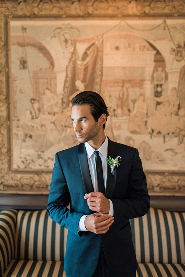 navy tuxedo jacket - photo by Jillian Rose Photography http://ruffledblog.com/romantic-wedding-ideas-with-pops-of-jewel-tones
