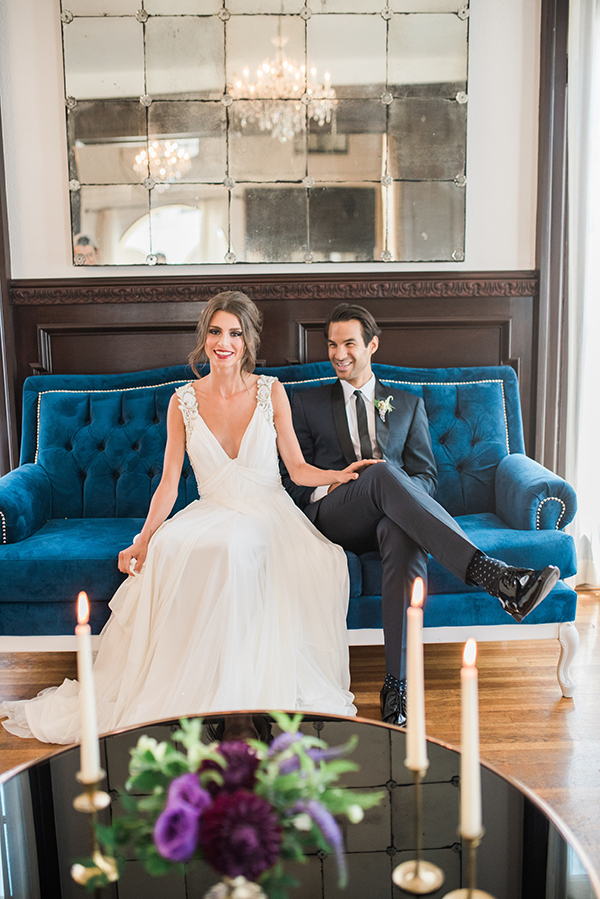 bride and groom - photo by Jillian Rose Photography http://ruffledblog.com/romantic-wedding-ideas-with-pops-of-jewel-tones