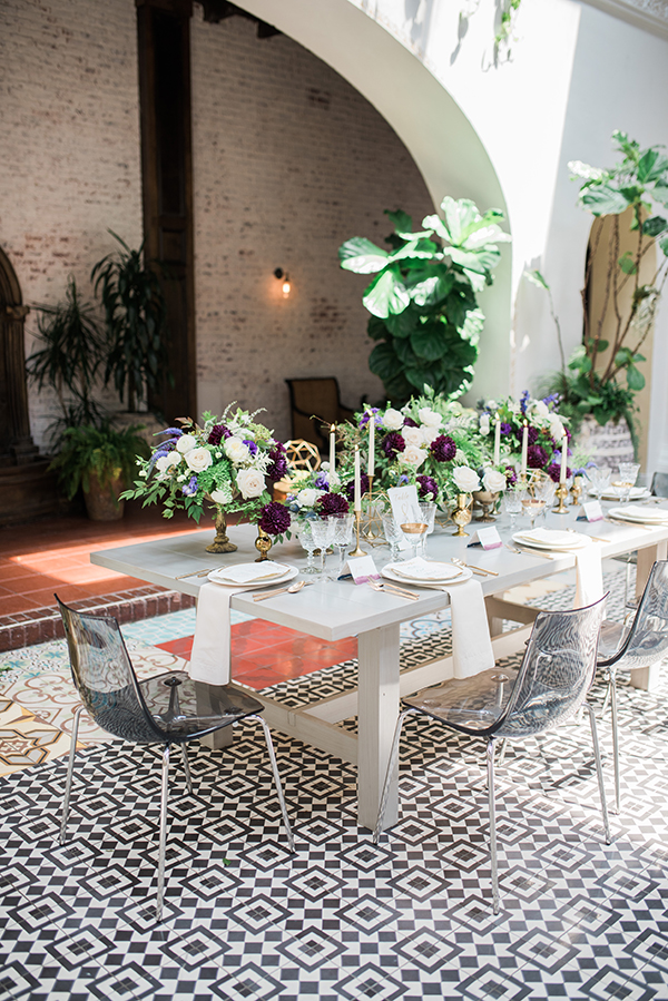 gray wedding tables - photo by Jillian Rose Photography http://ruffledblog.com/romantic-wedding-ideas-with-pops-of-jewel-tones