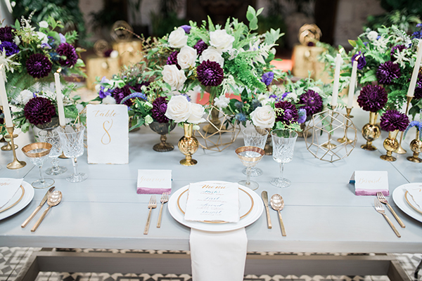 white and plum wedding flowers - photo by Jillian Rose Photography http://ruffledblog.com/romantic-wedding-ideas-with-pops-of-jewel-tones