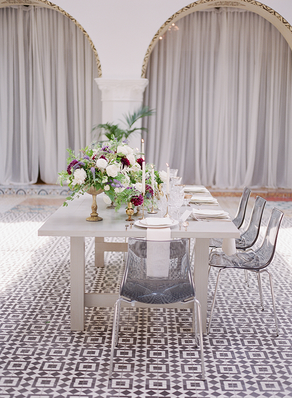 wedding tablescapes - photo by Jillian Rose Photography http://ruffledblog.com/romantic-wedding-ideas-with-pops-of-jewel-tones