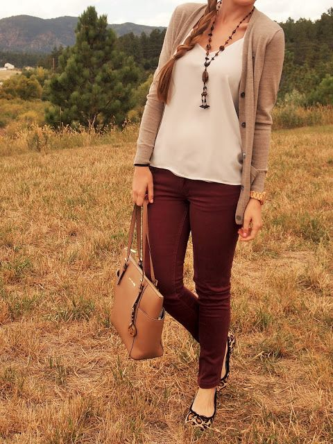 long camel cardigan, burgundy pants jeans, leopard flats, a white tank