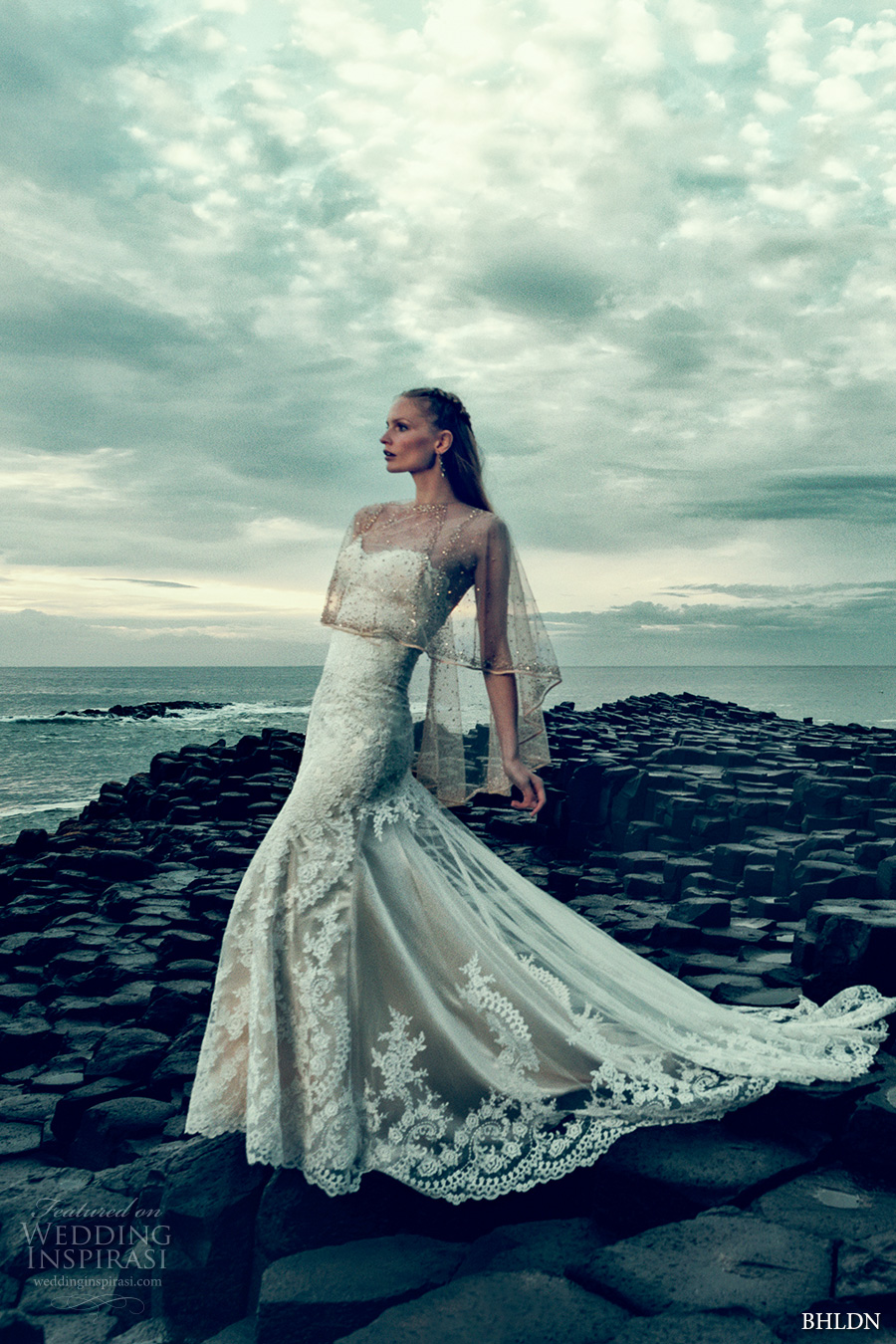 bhldn fall 2016 bridal strapless sweetheart neckline full embellishment romantic beautiful fit and flare wedding dress chapel train sheer capelet (leigh gown sonora capelet) mv