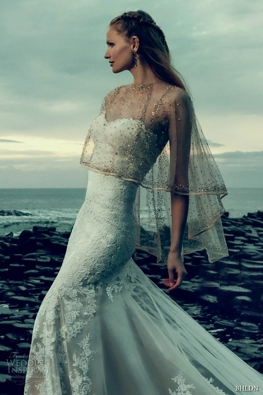 bhldn fall 2016 bridal strapless sweetheart neckline full embellishment romantic beautiful fit and flare wedding dress chapel train sheer capelet (leigh gown sonora capelet) zv