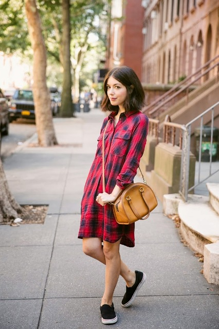 Cute look with plaid shirtdress, leather bag and slip-on sneakers