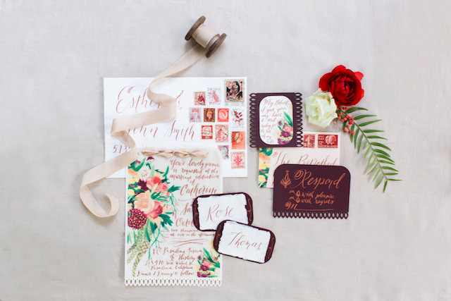 Vintage wedding invitations with red and gold details and calligraphy | Molly Lichten Photography