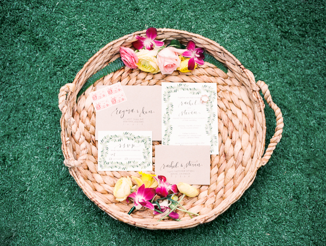 Hawaii themed wedding invitations | Angelica Chang Photography