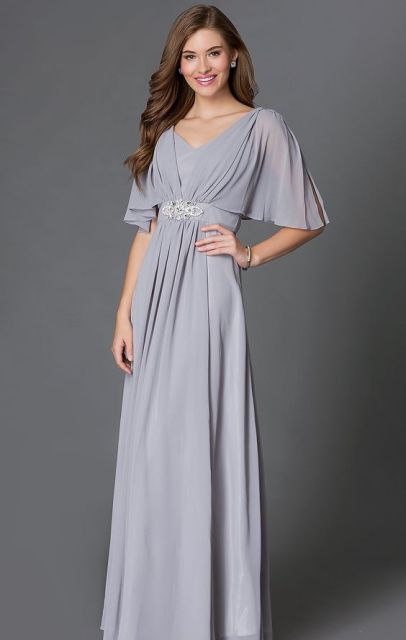 Gentle gray maxi dress with decor