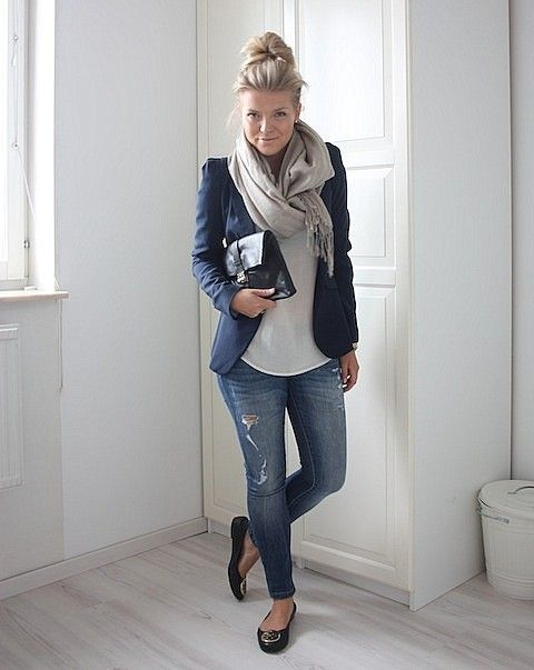 blue denim, a navy jacket, a white top, black flats and a light grey scarf