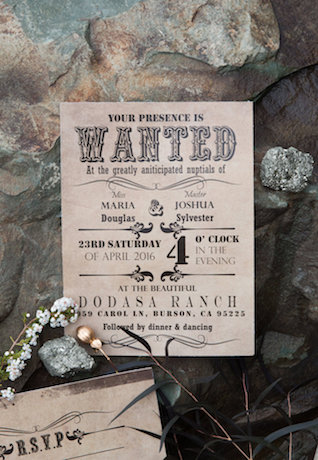 Vintage western themed wedding invitations | Lumiére Visual Arts