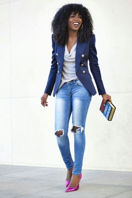 With neutral blouse, distressed skinny jeans and pink pumps