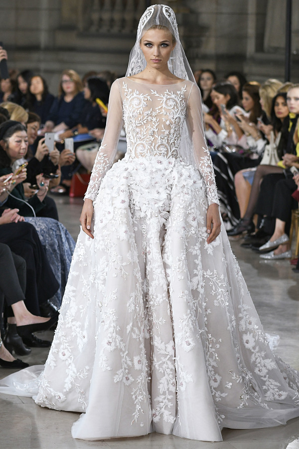 Georges Hobeika floral wedding gown with illusion neckline and a matching veil