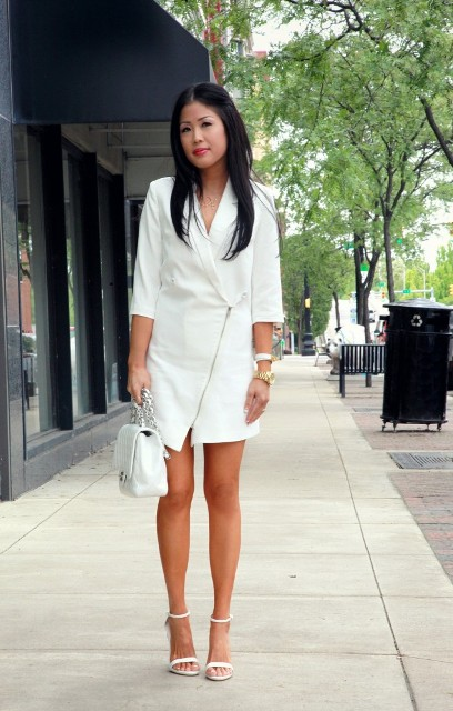 All white look with dress, heels and crossbody bag