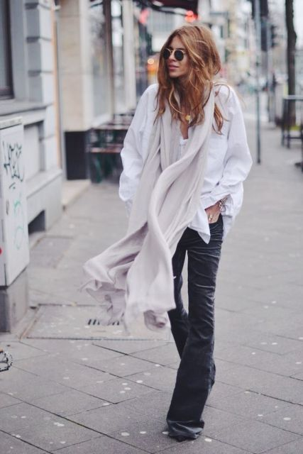 With white button down shirt and oversized scarf