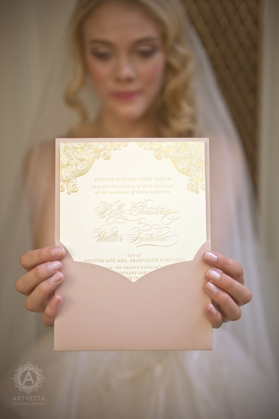 blush envelopes and gold invitations