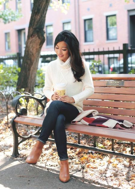 With white sweater and jeans