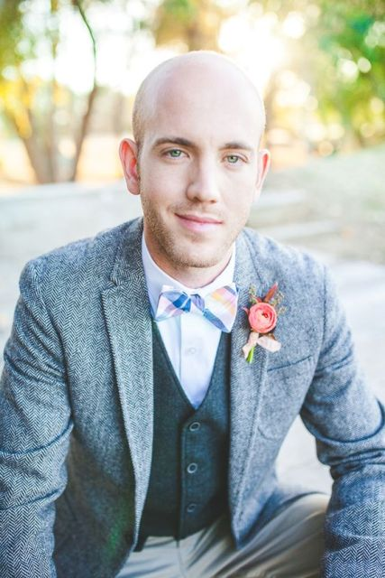 With printed bow tie and rose boutonniere