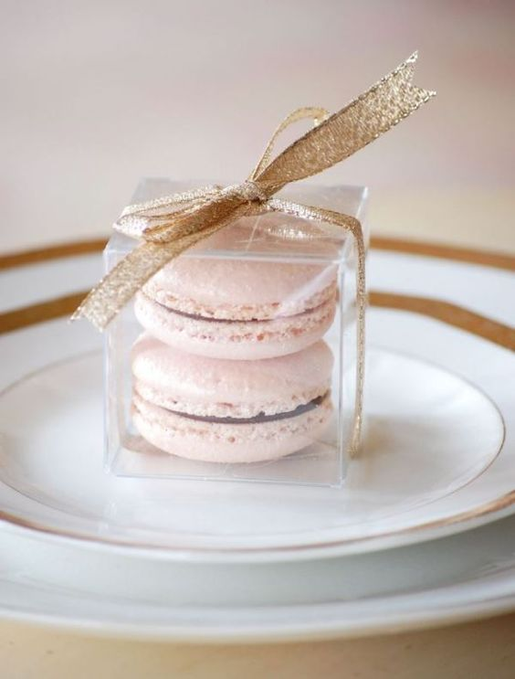 blush macarons with a glitter gold bow