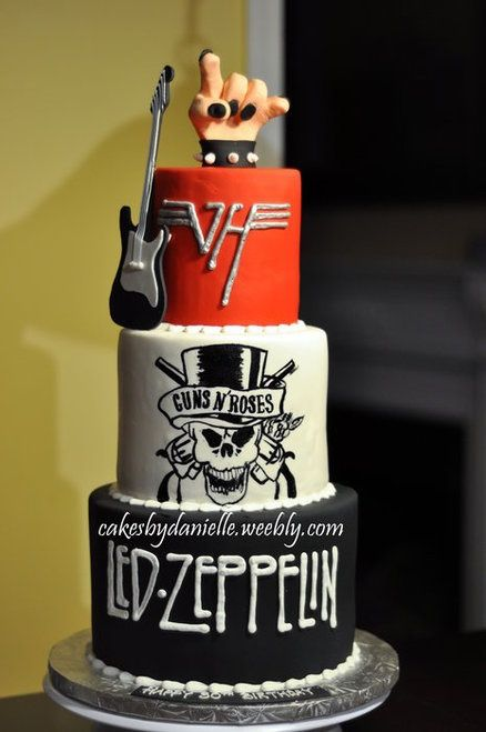 rock wedding cake with favorite groups