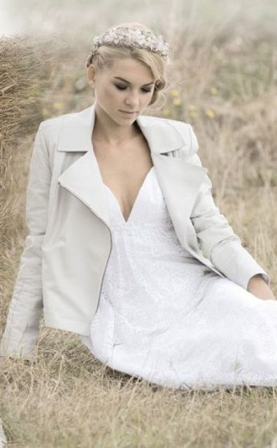 white leather jacket with a beautiful romantic dress