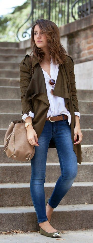 blue jeans, a white shirt, olive green flats and cardigan