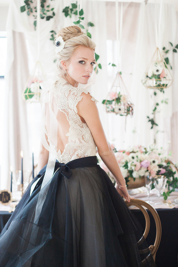 Rock a bridal separate like here, a blush top and a black skirt