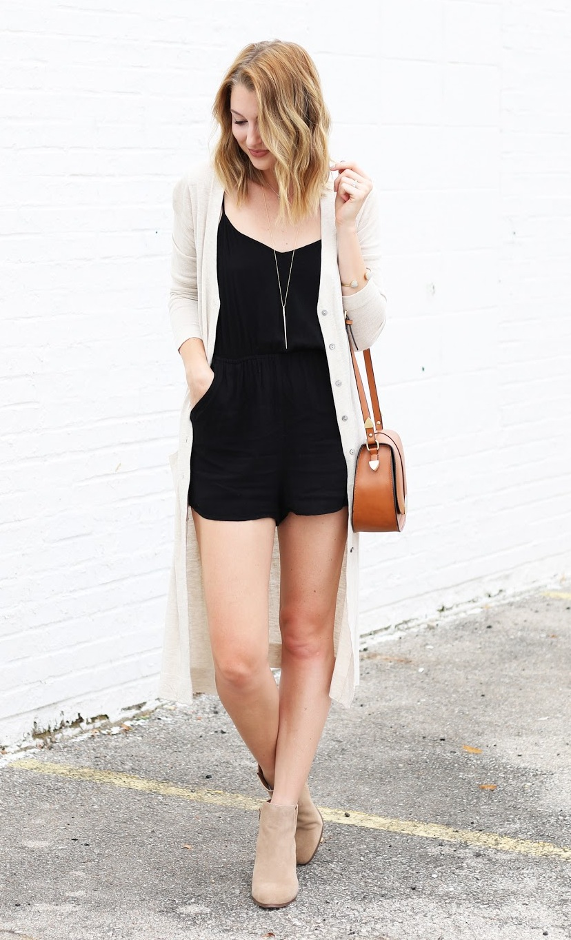 black romper, a neutral cardigan and nude boots