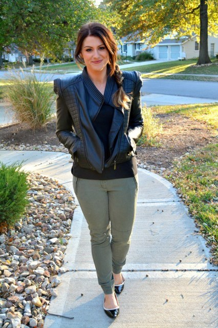 With olive green trousers and flats