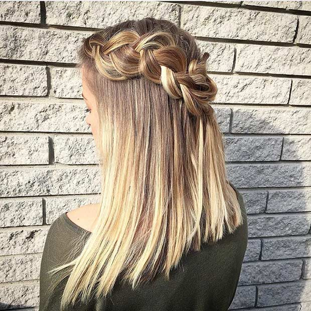 Dutch Braided Crown Hairstyle For Mid Length Hair