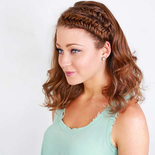 Two Fishtail Braids Hairstyle for Medium Length Hair