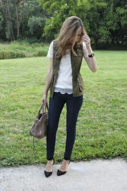 With lace blouse and skinny pants (would work as an office look)