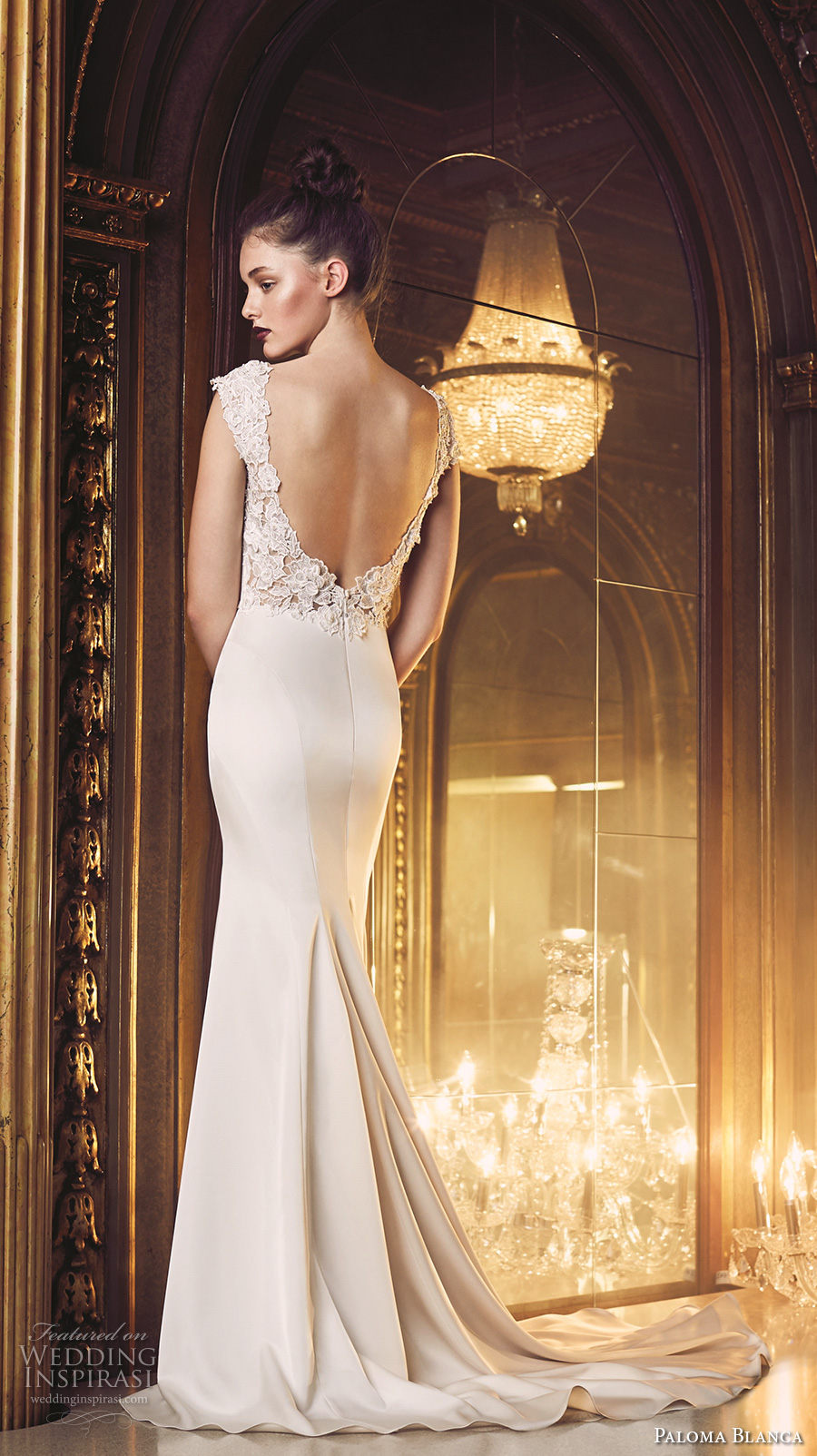 paloma blanca fall 2016 bridal cap sleeves bateau neckline simple clean chic design elegant fit and flare wedding dress low back sweep train (4706) zv