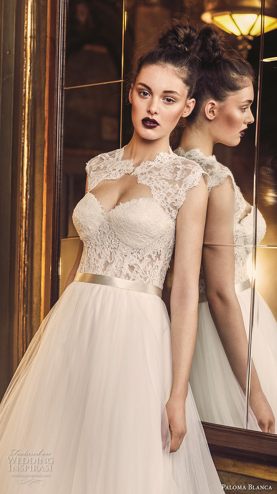 paloma blanca fall 2016 bridal strapless sweetheart neckline bustier heavily embellished bodice tulle skirt romantic a line wedding dress lace with bolero keyhole back sweep train (4704) zv