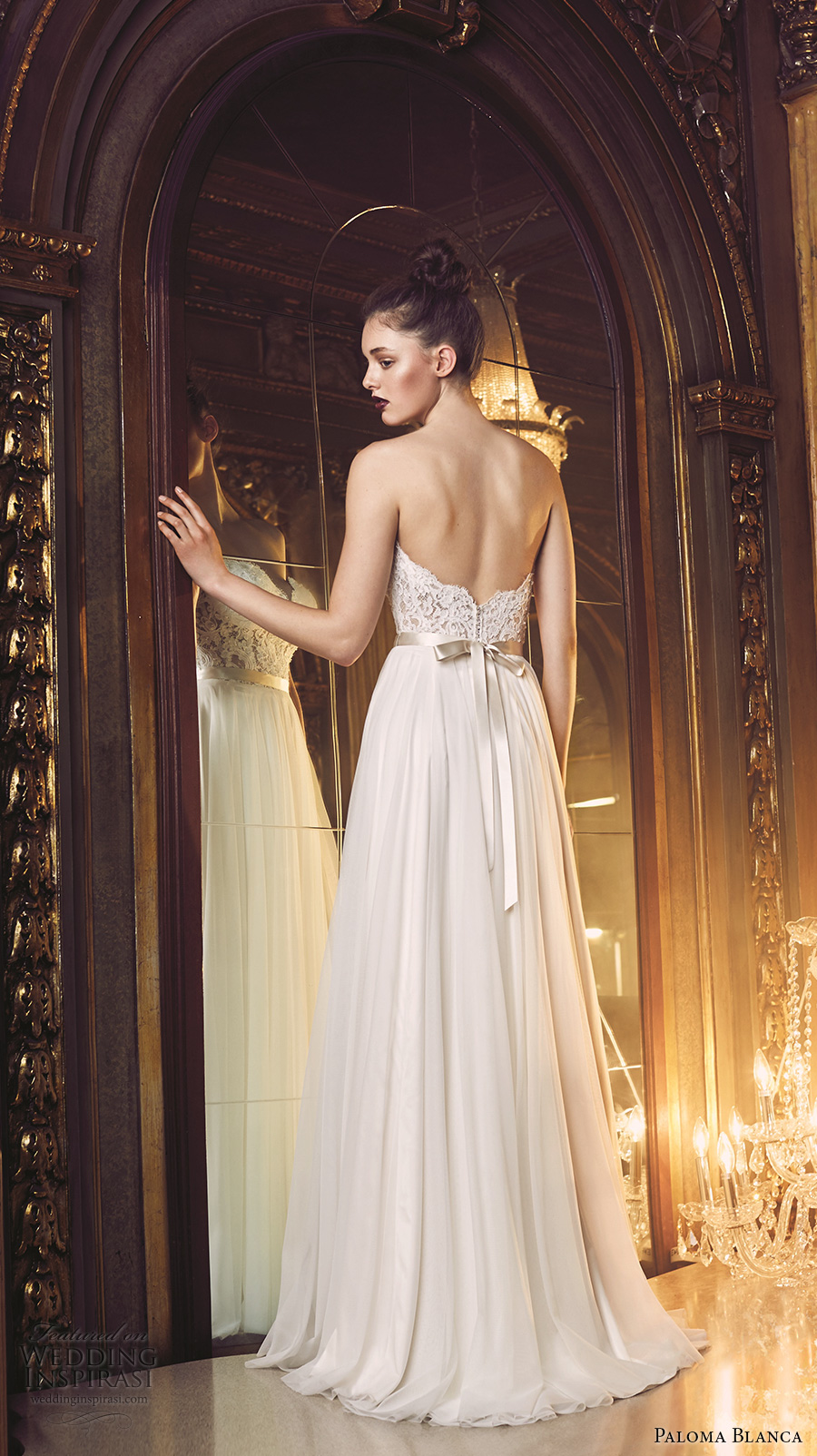 paloma blanca fall 2016 bridal strapless sweetheart neckline heavily embellished bodice sexy romantic a line wedding dress open back sweep train (4707) bv
