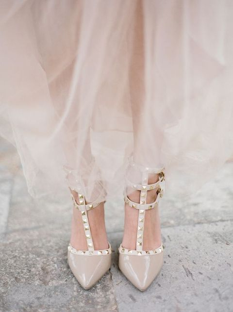 nude spiked wedding shoes