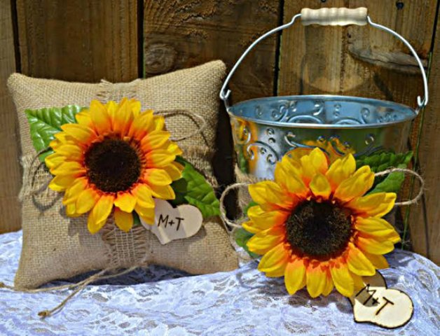 Flower girl basket decorated with sunflower