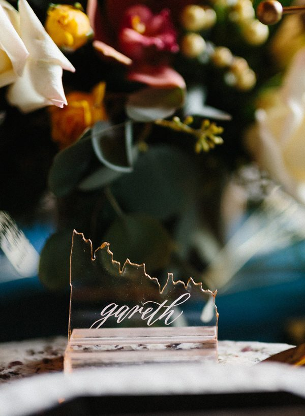 broken glass place settings - photo by Sonia Bourdon Photographe http://ruffledblog.com/geometric-gems-styled-elopement
