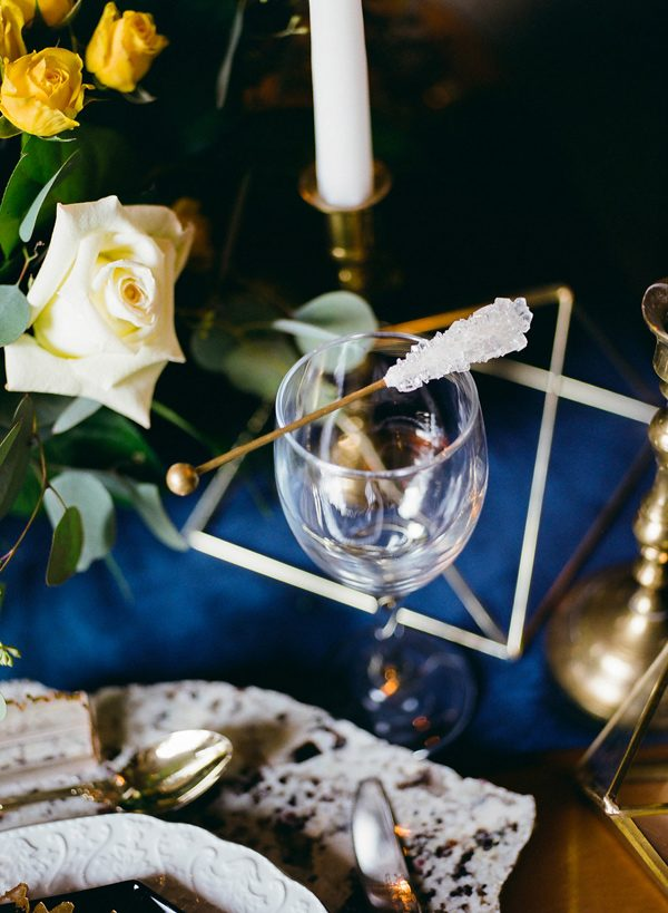 reception table details - photo by Sonia Bourdon Photographe http://ruffledblog.com/geometric-gems-styled-elopement