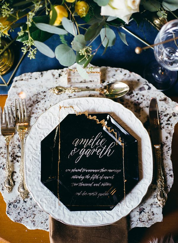 modern table place settings - photo by Sonia Bourdon Photographe http://ruffledblog.com/geometric-gems-styled-elopement