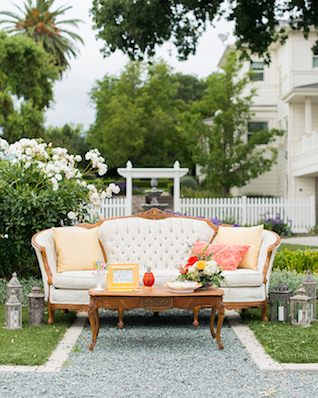 Outdoor lounge area with origami making | Kelly Marie Photography