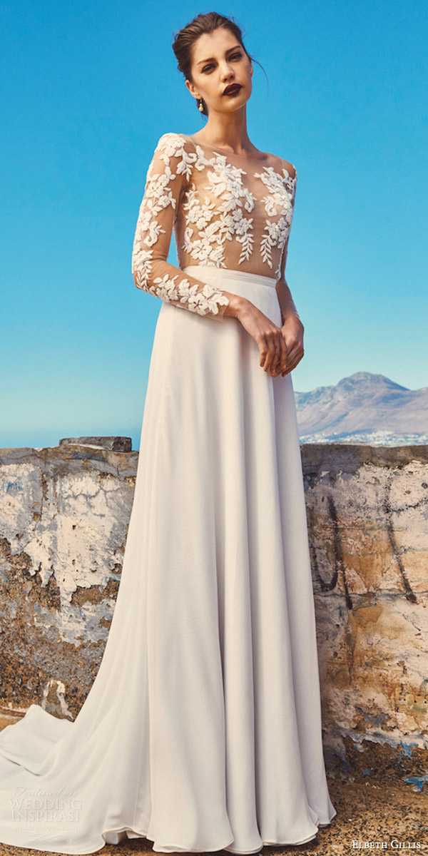 elbeth gillis milk honey 2017 bridal separates illusion long sleeves a line wedding dress (tara top shelby skirt) fv