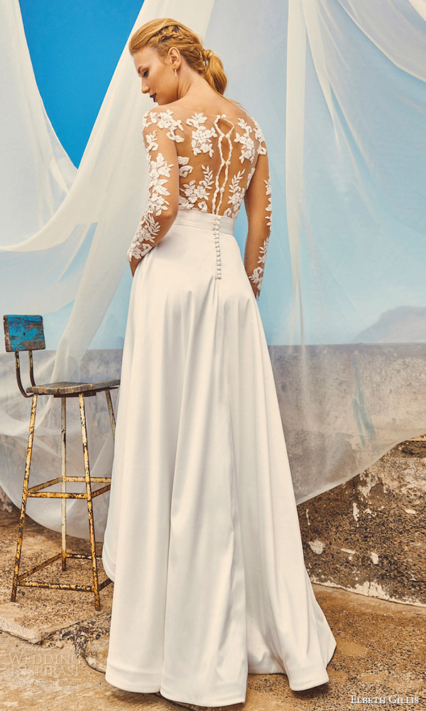 elbeth gillis milk honey 2017 bridal separates illusion long sleeves aline high low wedding dress (tara top harper skirt) bv