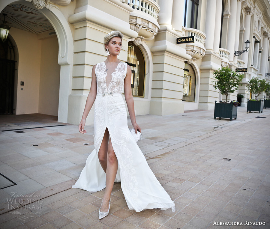 alessandra rinaudo 2017 bridal sleeveless illusion boat deep plunging neck line heavily embellished bodice slit down the middle a line wedding dress lace back chapel train (16) mv